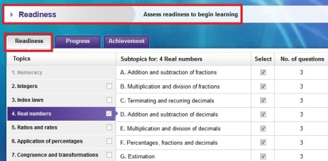 A readiness assessment for real numbers in assessON Maths Quest 8 for Australian Curriculum